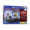 Herní konzole PlayStation 4 Slim v černé barvě se třemi hrami. Kapacita úložiště - 500 GB. 1x herní ovladač DualShock 4. Balení obsahuje3 hry:Spiderman, Horizon Zero Dawn, Ratchet and Clank.