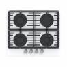 Designověplynová varná deskaznačkyMORA VDP 645 GW5 jevyrobena z kvalitního tvrzeného skla. K dispozici jsou4 plynové hořáky, které disponujípojistkami STOP GASS. Na hořácích se nacházídvě litinové mřížky, které zaručístabilitu nádobí. Zapalováníjeelektrické, stačí otočit jedním ze 4 knoflíků a plynová varná deska je v provozu.